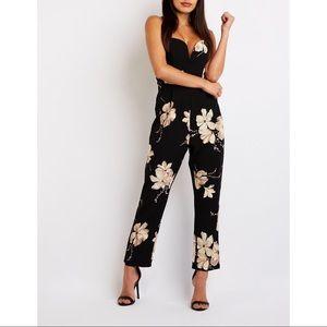 Charlotte Russe V notch black floral jumpsuit